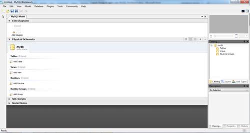 Tela inicial do MySQL Workbench