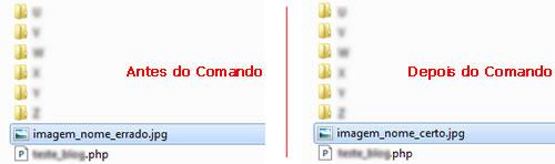Imagem do resultado ao executar o comando rename
